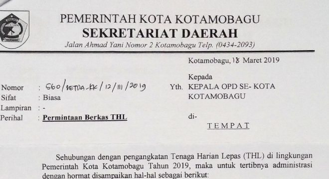 Seluruh THL di Kota Kotamobagu Diminta Lengkapi Berkas Administrasi