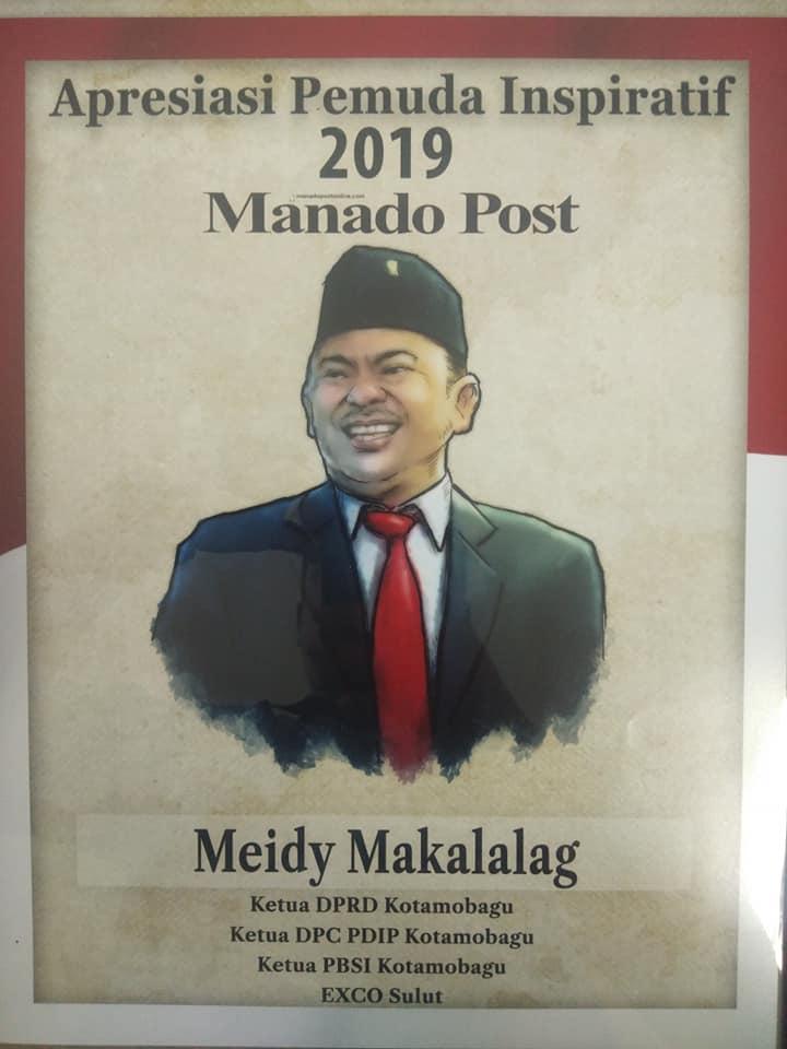 Meidy Makalalag saat menerima penghargaan sebagai Pemuda Inspiratif Sulut 2019