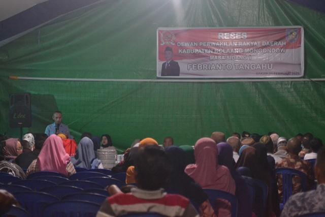 Reses Masa Sidang Pertama, Dua Legislator Bolmong Tampung Aspirasi Rakyat