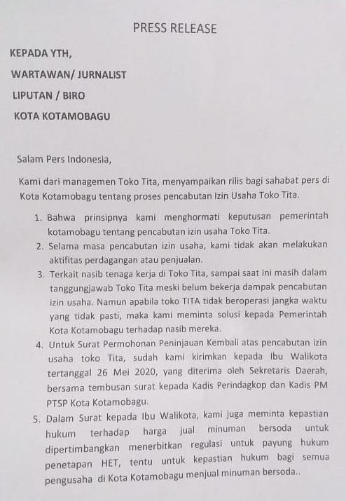 Pernyataan Toko Tita