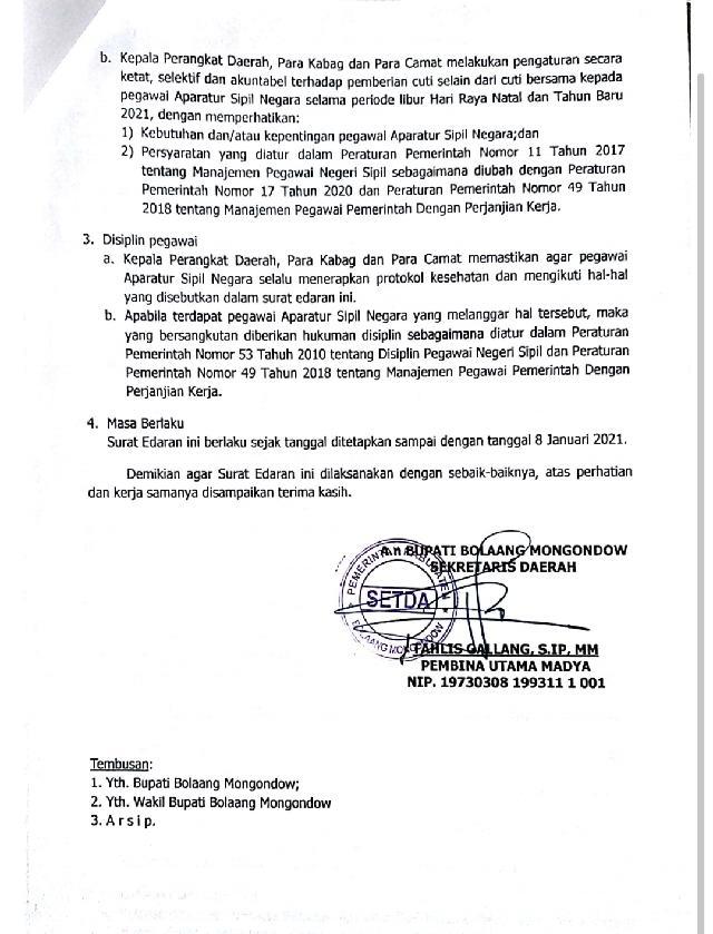 Pemkab Bolmong Keluarkan Surat Terkait Pengetatan Cuti