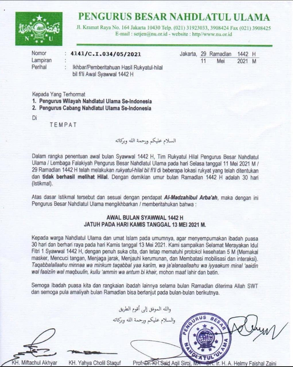 PBNU Tetapkan Idul Fitri 1 Syawal 1442 H Jatuh Pada Hari Kamis Lusa