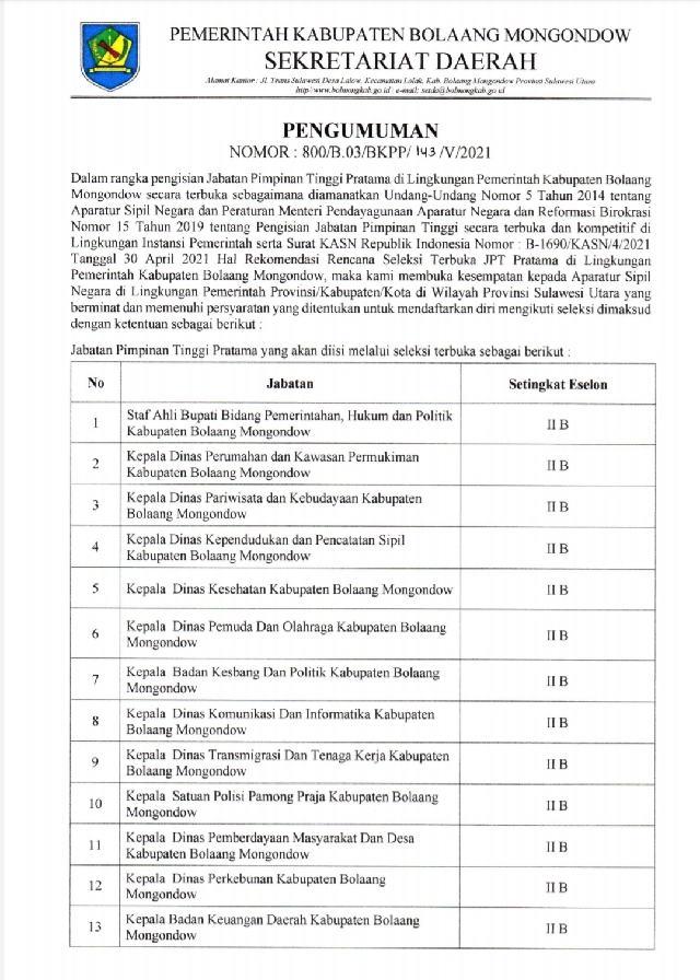 Terbuka Untuk ASN se-Sulut, Pemkab Bolmong Lelang 13 Jabatan Tinggi Pratama