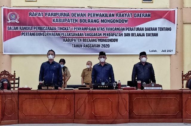 Paripurna Penyampaian Ranperda Pertanggungjawaban Pelaksanaan APBD TA 2020 Digelar DPRD Bolmong
