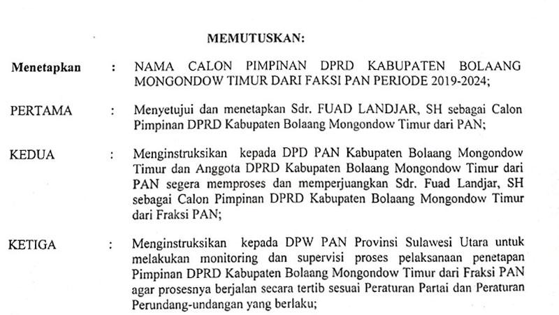 Fuad Landjar Diamanatkan DPP PAN Jadi Ketua DPRD Boltim