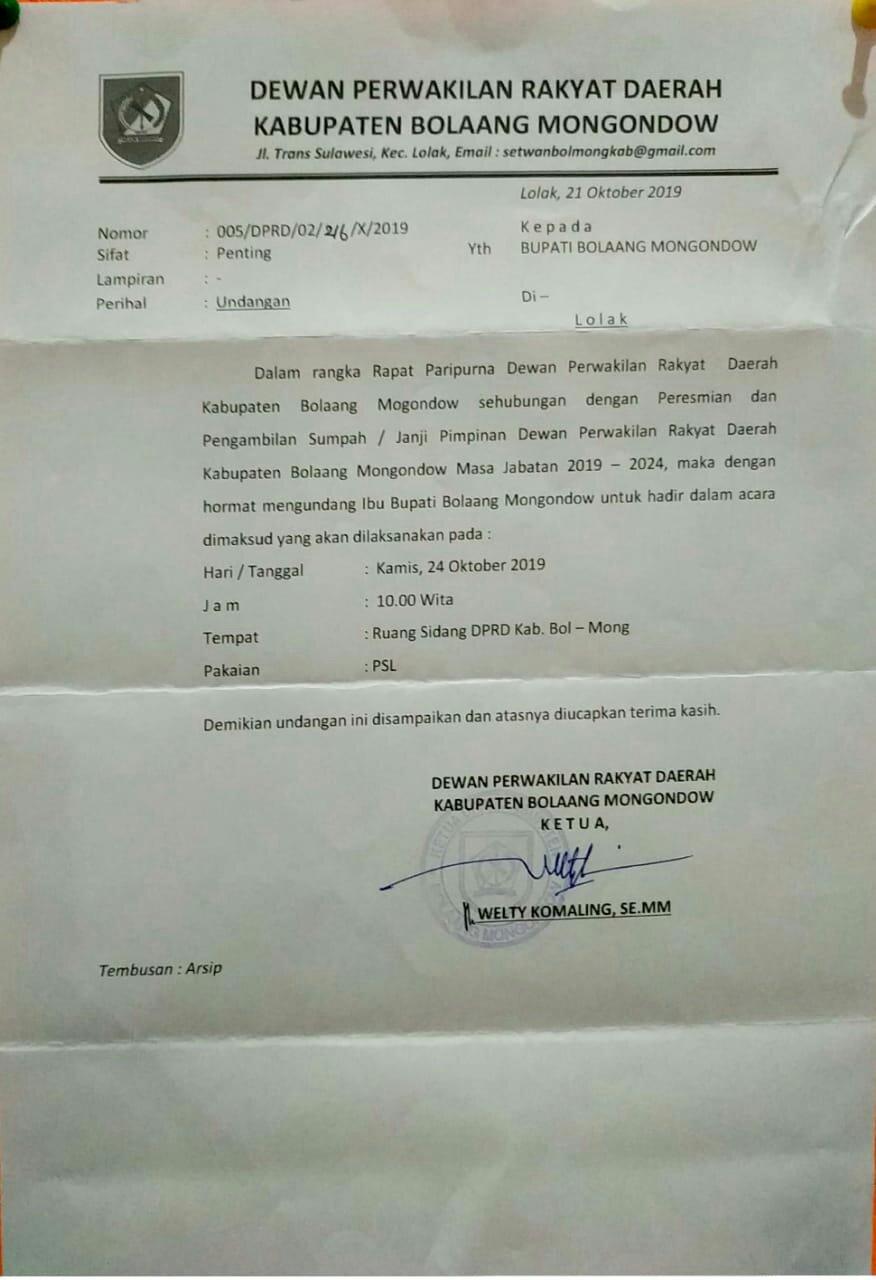 Pelantikan Pimpinan DPRD Bolmong Dilaksanakan Besok