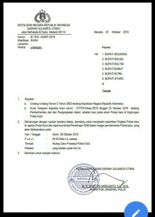 Yasti Dijadwalkan Hadiri Pelantikan Kapolres Bolmong