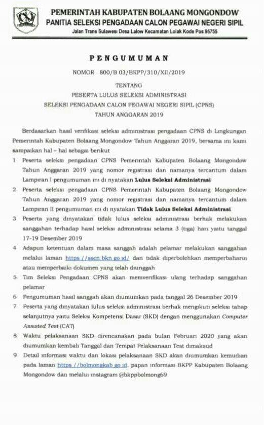 1717 Pelamar CASN Bolmong Lulus Seleksi Administrasi
