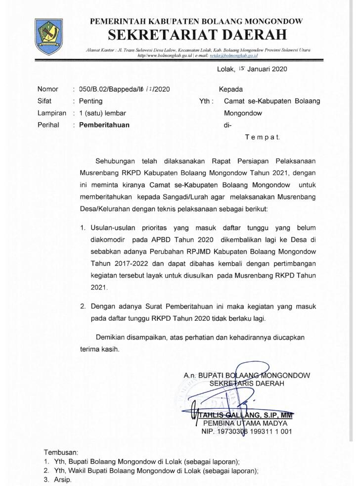Ini Jadwal Pelaksanaan Musrenbang di Bolmong